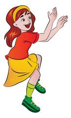 Girl Cheering, illustration