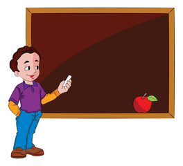Man Using a Chalkboard, illustration