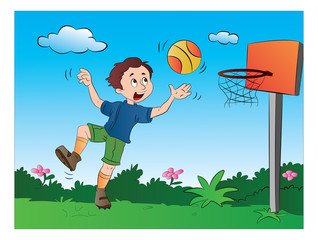Boy Playing Basketball, illustration