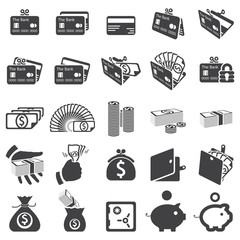 Set of money icons -Silhouettes