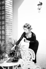 sexy woman posing as an aristocrat - fashion shoot