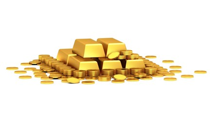Gold coins and gold bars on a white background.