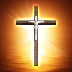 Cross on glowing background