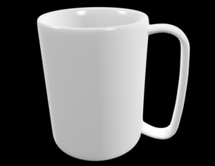 A White Coffee Mug Isolated on Black 3d Render