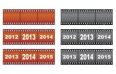 set of New Year filmstrips vector illustration