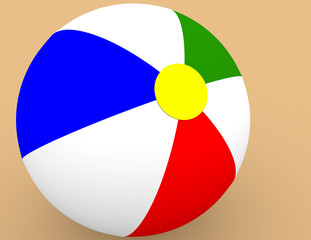 3d Render of a Beach Ball in the Sand