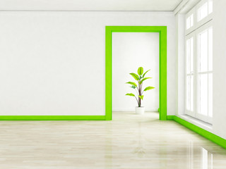 a green plant in the empty room near a window