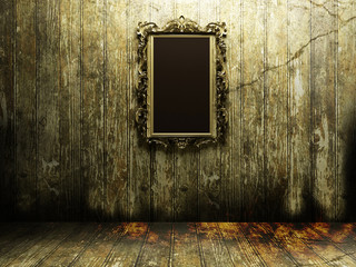 antique mirror in a dark room