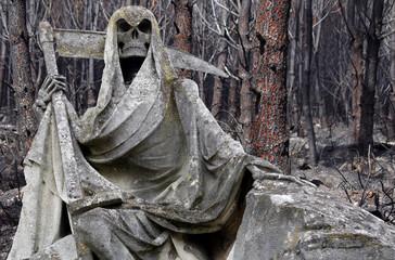 statue représentant la mort devant une forêt incendiée