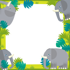 The safari frame - with animals - illustration for the children