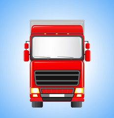 shipping truck on sky background