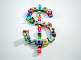 US Dollar sign,made of several gifts, viewed from top