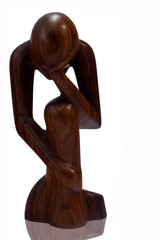 Il pensiero - Piccola statua in legno