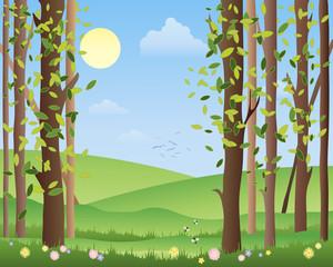 Wall Murals Birds, bees summer forest