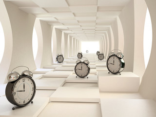 Time Concept  with Black Alarm Clocks in 3D