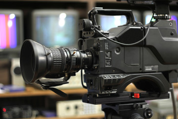 Professional camera on TV