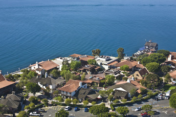 Arial view of Seaport Village in San Diego, CA US.