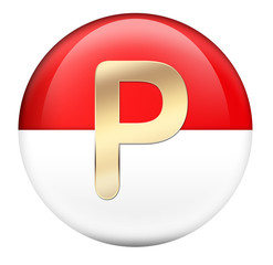 Button P in red glossy sphere
