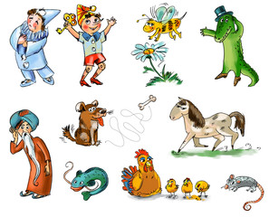 Set of fairy tale characters and animals