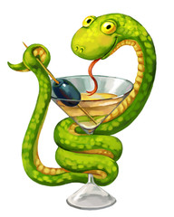 Snake on cup (medicine symbol). Martini glass with olive