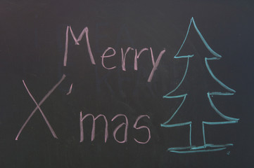 Chalk drawing - Merry Christmas