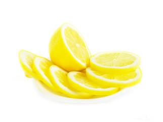Aluminium Prints Slices of fruit Fresh lemon fruit sliced on white background