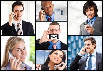 Peoople using telephones