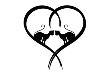 Silhouette, Liebende Katzen in Herz
