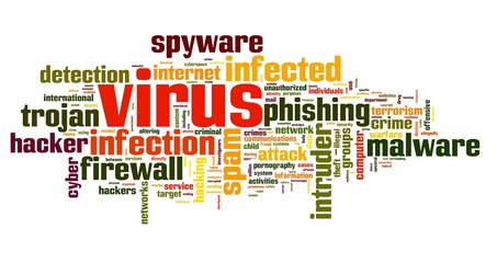 Virus and computer security concept in tag cloud