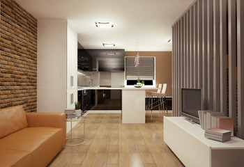 Interior visualization of a living room with kitchenette