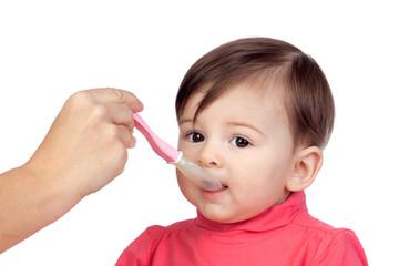Baby girl eating