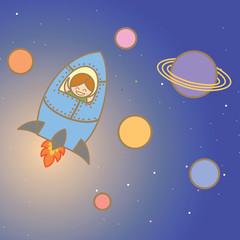 kid enjoy space ship