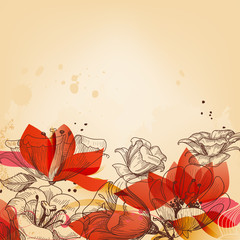 Photo Blinds Abstract Floral Vintage floral card, abstract red flowers vector