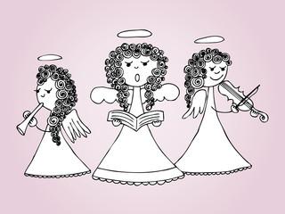Angels singing and playing carols. Hand drawn illustration.