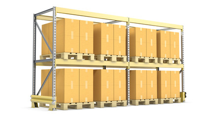 Pallet rack with cargo