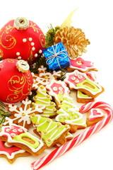 Christmas balls, gingerbread and golden cones.