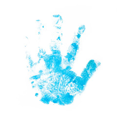 child hand prints in blue color