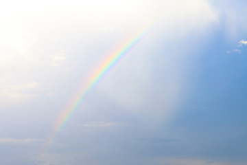 Real colorful rainbow on real sky