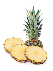 ripe pineapple with slices isolated on white background
