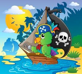 Foto op Plexiglas Piraten Image with pirate parrot theme 2
