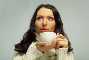 Woman with tea cup, sweet dreams