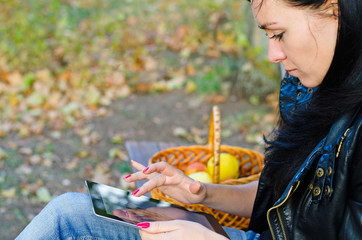 Young girl using her tablet