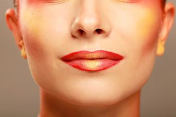 beautiful make up of bright lips