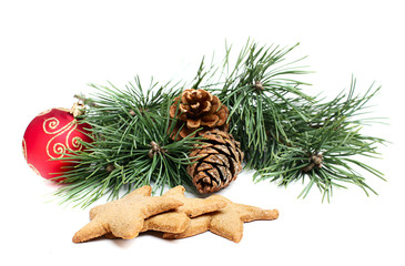 Pine branch with cones decorations and biscuits