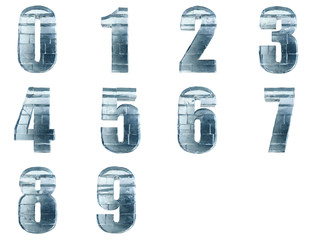 Iced numbers isolated with clipping path.