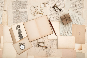 antique accessories, old letters and fashion drawing
