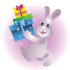 Christmas rabbit with gifts