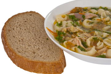 soup and bread isolated