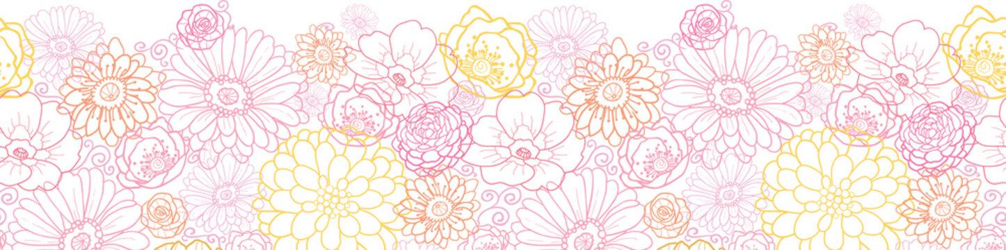 Vector wedding bouquet flowers elegant horizontal seamless