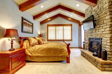 Luxury mountain home bathroom with stone fireplace.
